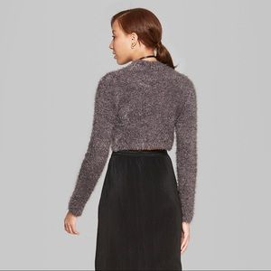 wild fable Sweaters - NWT Grey Fuzzy Mock neck Crop Sweater - Target b35b384ee